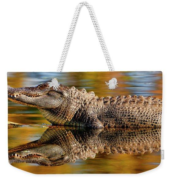 Relection Of An Alligator Weekender Tote Bag