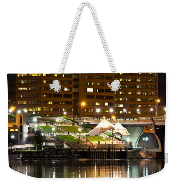 River Front At Night Weekender Tote Bag