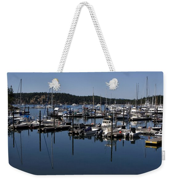 Weekender Tote Bag featuring the photograph Roche Harbor Reflected by Lorraine Devon Wilke