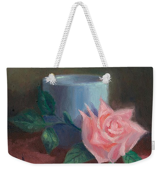 Rose With Blue Cup Weekender Tote Bag