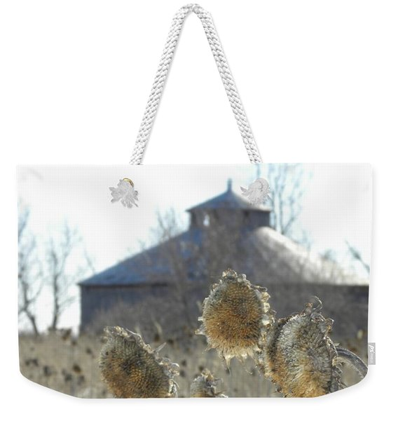 Round Barn With Sunflowers Weekender Tote Bag