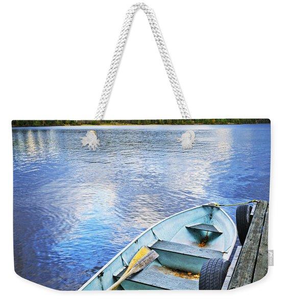 Rowboat Docked On Lake Weekender Tote Bag