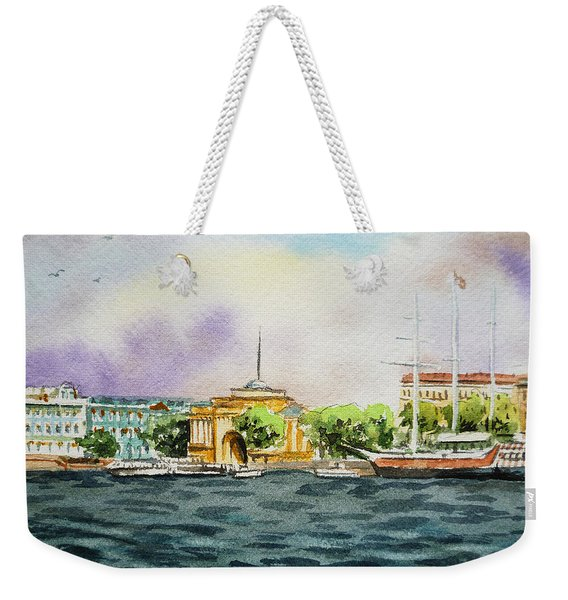 Russia Saint Petersburg Neva River Weekender Tote Bag