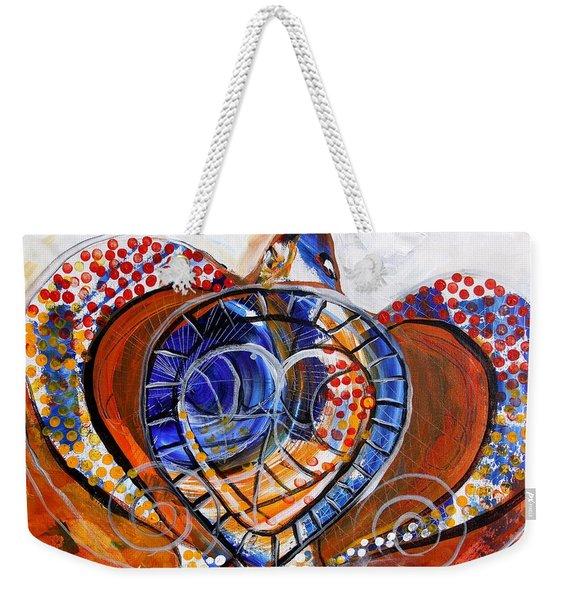 Sea Turtle Love - Orange And White Weekender Tote Bag