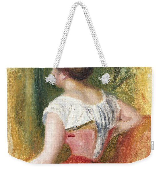 Seated Young Woman Weekender Tote Bag
