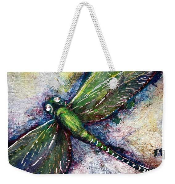 Weekender Tote Bag featuring the mixed media Silver Dragonfly by Ashley Kujan