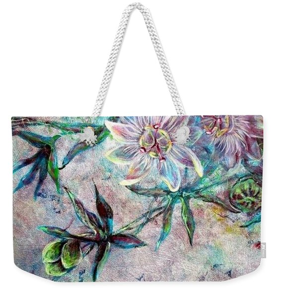 Weekender Tote Bag featuring the painting Silver Passions by Ashley Kujan