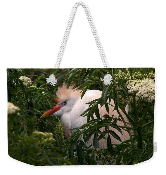 Sleepy Egret In Elderberry Weekender Tote Bag