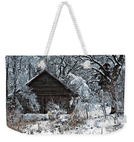 Snow Covered Barn Weekender Tote Bag
