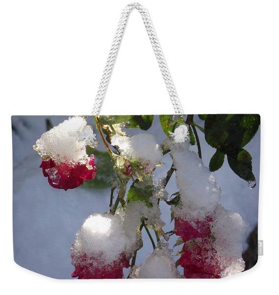 Snow Covered Roses Weekender Tote Bag