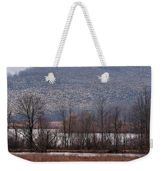 Snow Geese Rising Weekender Tote Bag