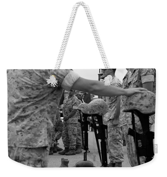 Soldier Pays His Respect To Fallen Weekender Tote Bag