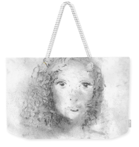 Weekender Tote Bag featuring the drawing Something About Mary by Laurie Lundquist