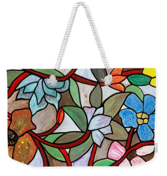 Weekender Tote Bag featuring the painting Stained Glass Wild  Flowers by Cynthia Amaral