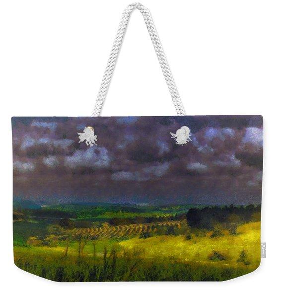 Storm Clouds Over Meadow Weekender Tote Bag