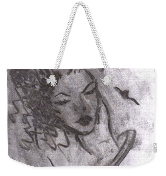 Weekender Tote Bag featuring the drawing Story Of My Heart by Laurie Lundquist