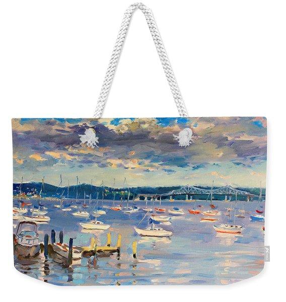 Sun And Clouds In Hudson Weekender Tote Bag