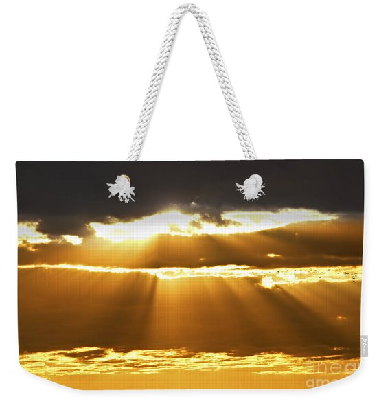 Sun Rays At Sunset Sky Weekender Tote Bag
