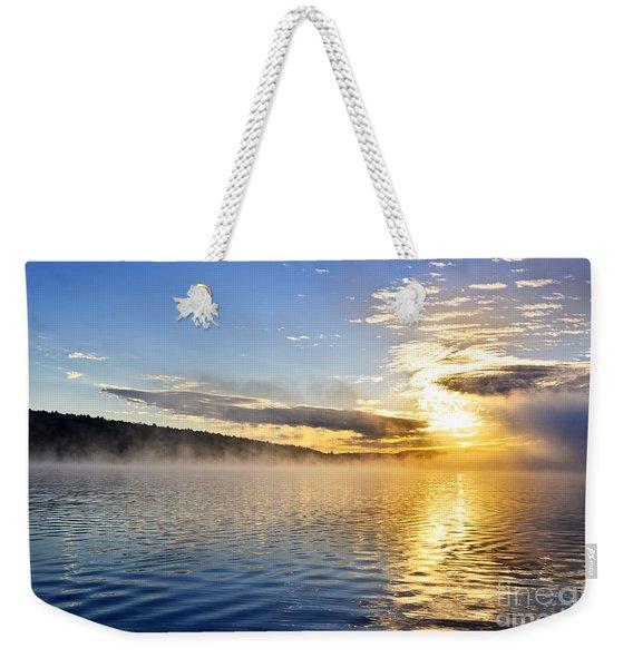 Sunrise On Foggy Lake Weekender Tote Bag