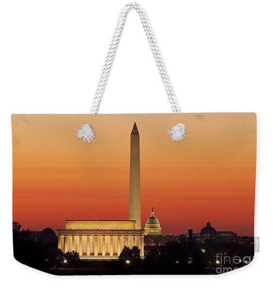 Weekender Tote Bag featuring the photograph Sunrise Over Washington Dc by Brian Jannsen
