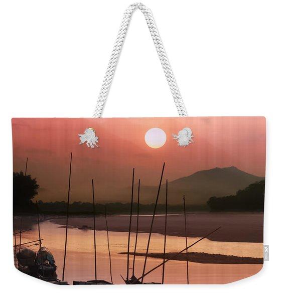 sunset at Mae Khong river Weekender Tote Bag