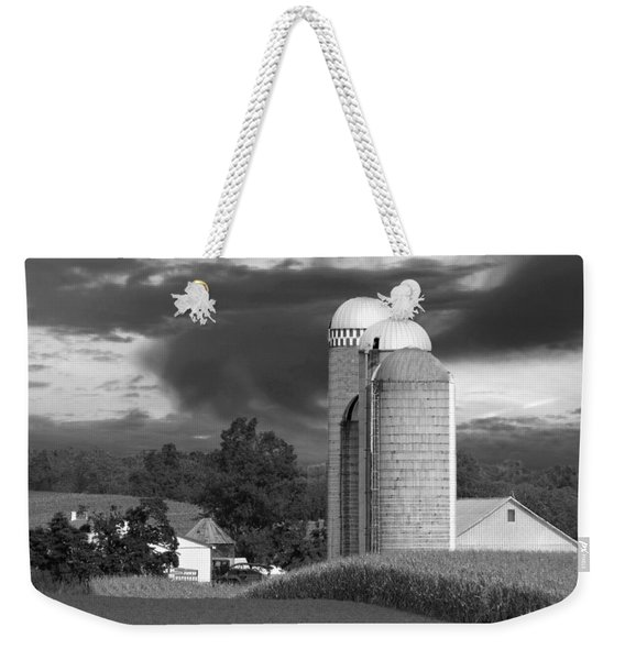 Sunset On The Farm Bw Weekender Tote Bag