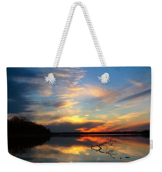 Sunset Over Calm Lake Weekender Tote Bag