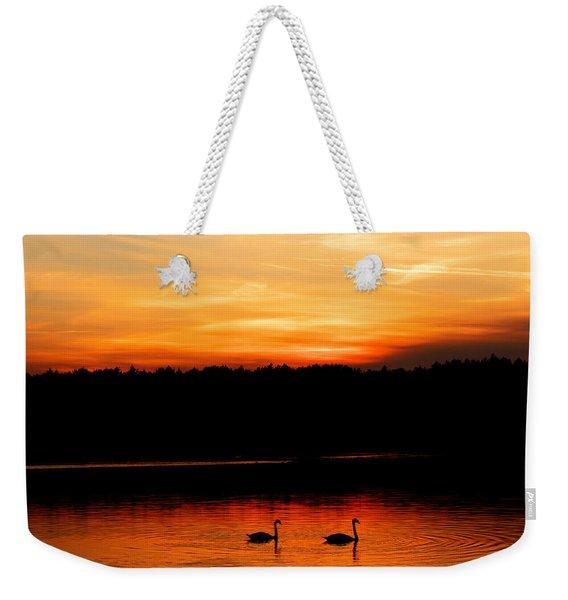 Swans In The Sunset Weekender Tote Bag