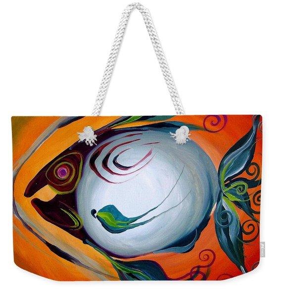 Teal Fish With Orange Weekender Tote Bag