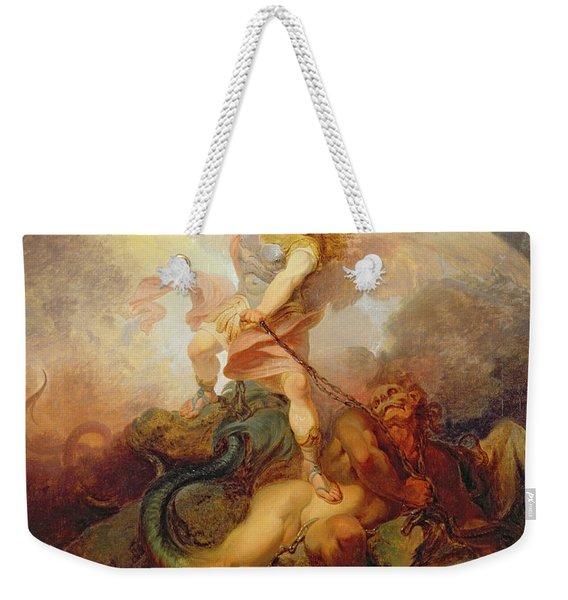 The Angel Binding Satan Weekender Tote Bag