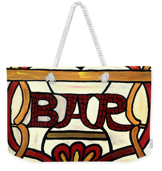 Weekender Tote Bag featuring the painting The Bar by Cynthia Amaral