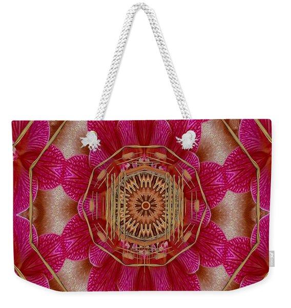 The Golden Orchid Mandala Weekender Tote Bag