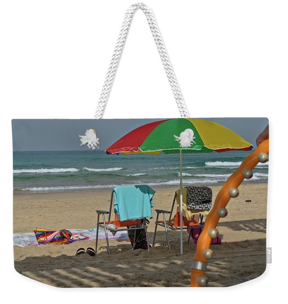 Weekender Tote Bag featuring the photograph The Idyll On The Mediterranean Shore by Michael Goyberg