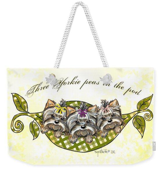 Three Yorkie Peas In The Pod Weekender Tote Bag