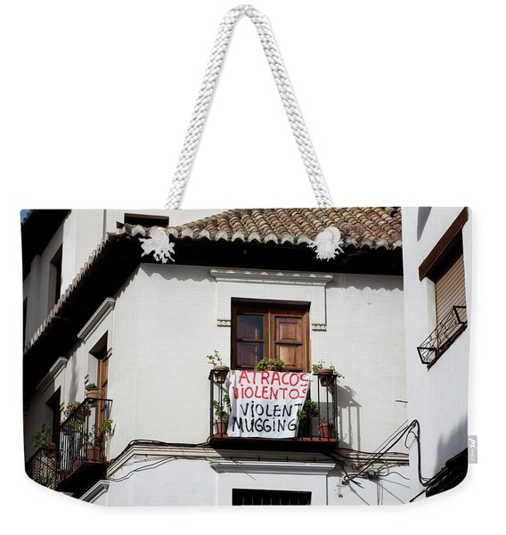 Weekender Tote Bag featuring the photograph Trouble In The Neighborhood by Lorraine Devon Wilke