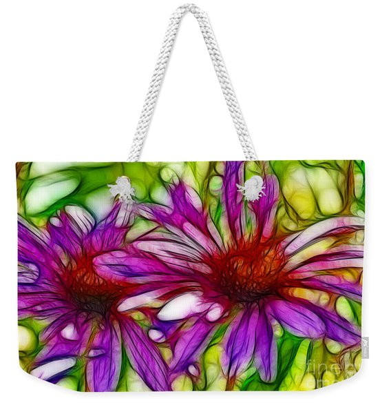 Two Purple Daisy's Fractal Weekender Tote Bag