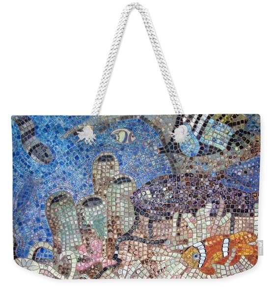 Weekender Tote Bag featuring the painting Under The Sea by Cynthia Amaral