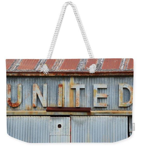 United Rusted Metal Sign Weekender Tote Bag