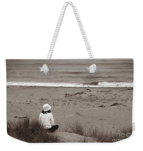 Watching The Ocean In Black And White Weekender Tote Bag