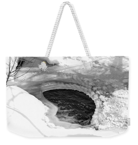 Weekender Tote Bag featuring the photograph Water And Ice by Michael Goyberg