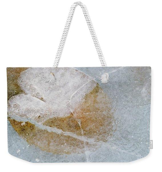 Water Lily Leaf In Ice, Boggy Lake Weekender Tote Bag