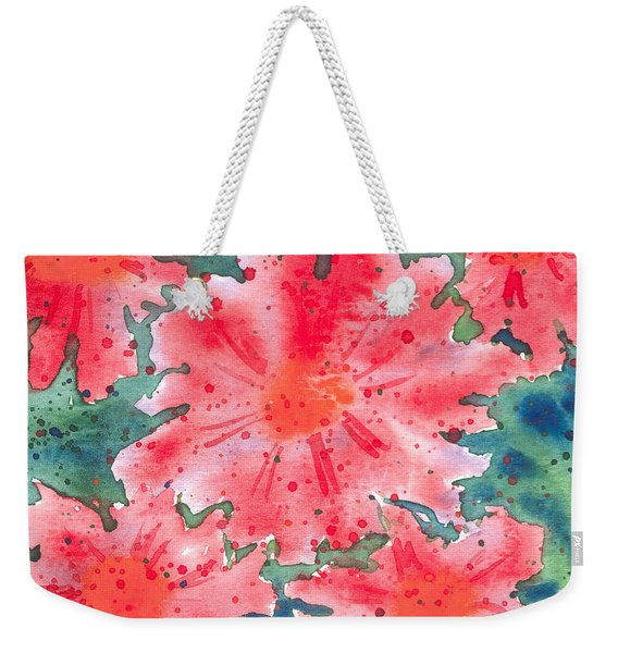 Watercolor Flowers Weekender Tote Bag