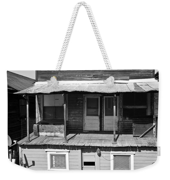 Weathered Home With Satellite Dish Weekender Tote Bag
