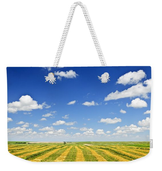 Wheat Farm Field At Harvest Weekender Tote Bag