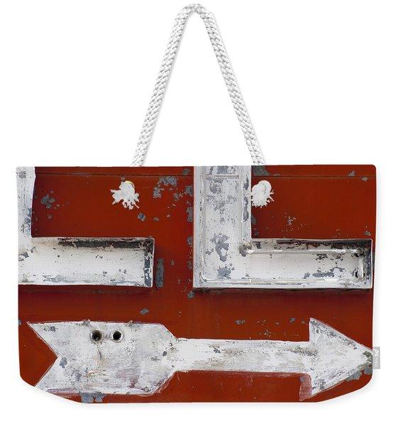 White Arrow On Motel Sign Weekender Tote Bag