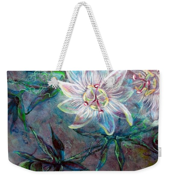 Weekender Tote Bag featuring the painting White Passion by Ashley Kujan