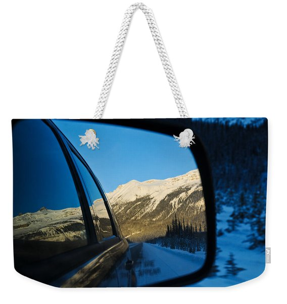 Winter Landscape Seen Through A Car Mirror Weekender Tote Bag