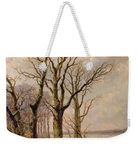 Winter Landscape With Faggot Gatherers Conversing On A Frozen Lake Weekender Tote Bag