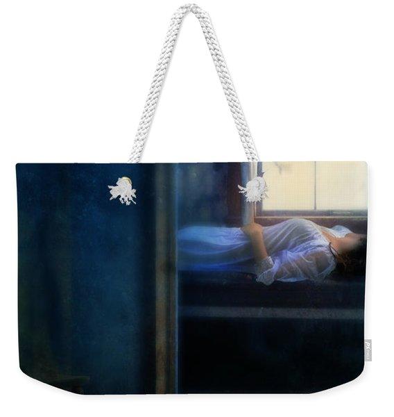 Woman In Nightgown In Bed By Window Weekender Tote Bag