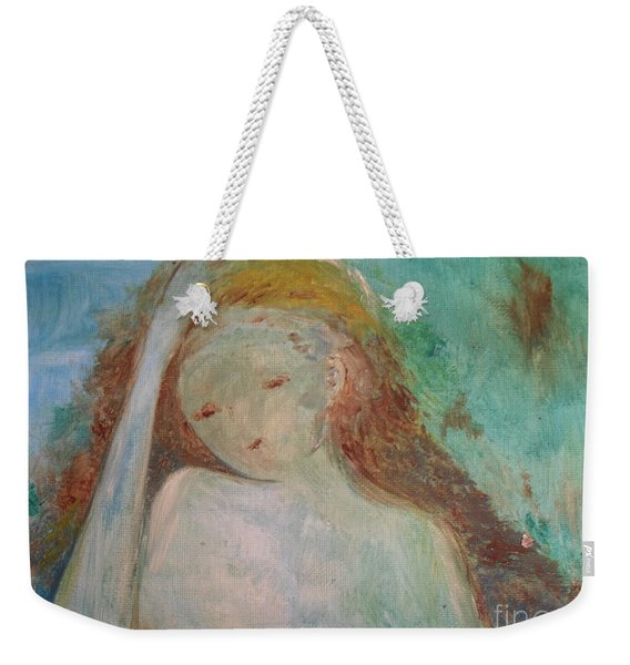 Weekender Tote Bag featuring the painting Woman Of Sorrows by Laurie Lundquist